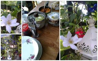 powojni, Clematis 'Jerzy Popiełuszko', obiad w ogrodzie
