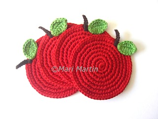 Crochet Coasters Red Apple