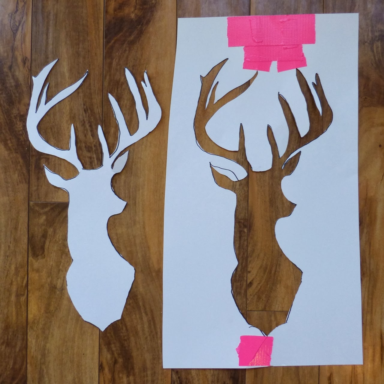 Made by nicole recycled canvas deer head for Printable stencils for canvas painting