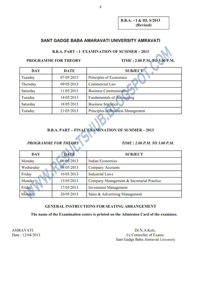 BBA Part 1, Final Year Summer 2013 Timetable Amravati University