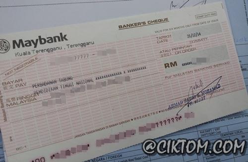 Draft maybank cik tom untuk bayaran PTPTN