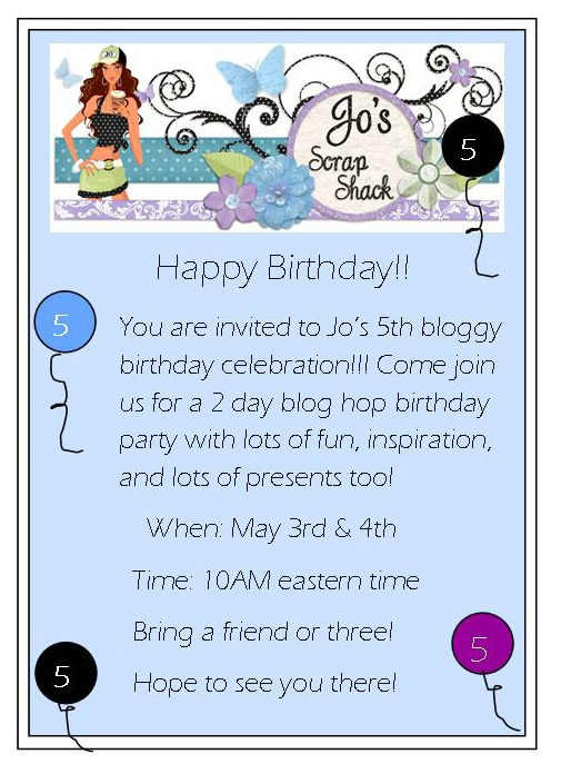 Jo's 5th bloggy birthday 2 day celebration