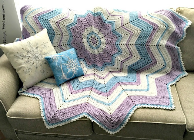 "round crochet ripple afghan inspired by ""Frozen"" movie"