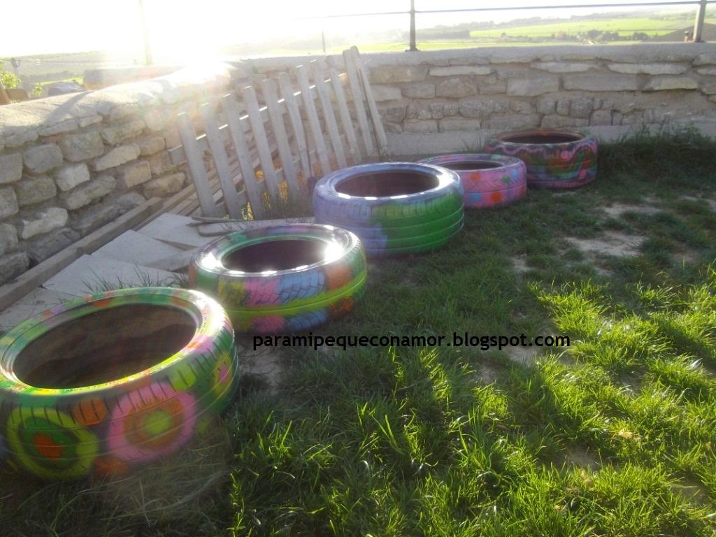 Para mi peque con amor jardineras con neum ticos les - Jardineras con ruedas ...