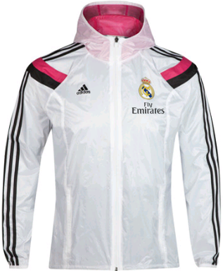 Gambar Jaket Parasut Waterproof Real Madrid Home White Official 2014 - 2015