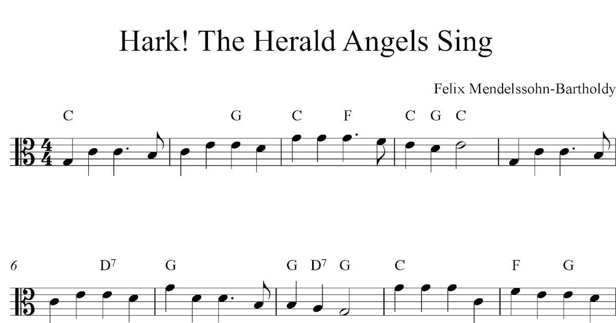Music Play to Find: Hark! The Herald Angels Sing, Free Christmas viola sheet music