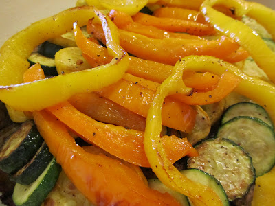 cooked peppers and zucchini