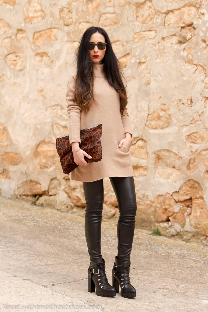 Ideas para combinar pantalones de piel ajustados