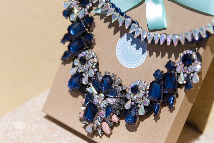 Detail maxi necklace blue crystal Mokka Accesories