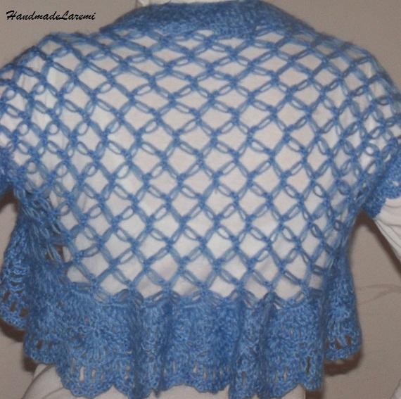 Crochet Shrug : Handmade Laremi: Light blue handmade crochet bolero shrug vest