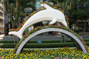Model of dolphin at the flower festival