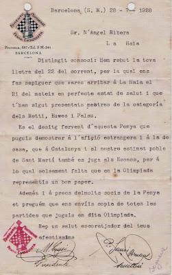 Carta del Fomento Martinense en 1928