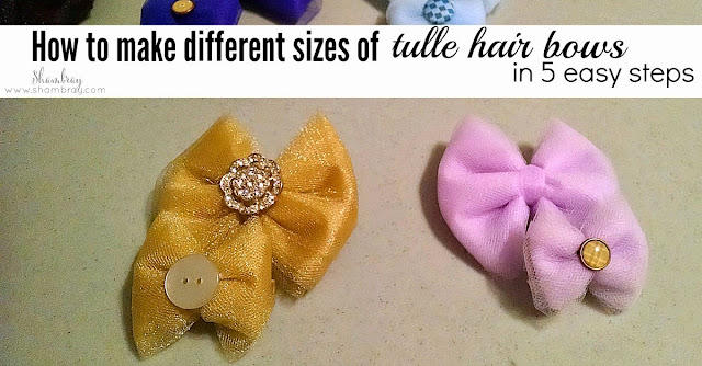 buttons, tulle, hot glue, hair clips
