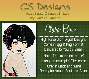 Clara Bow, Silver Screen and Cinema Digital Stamp