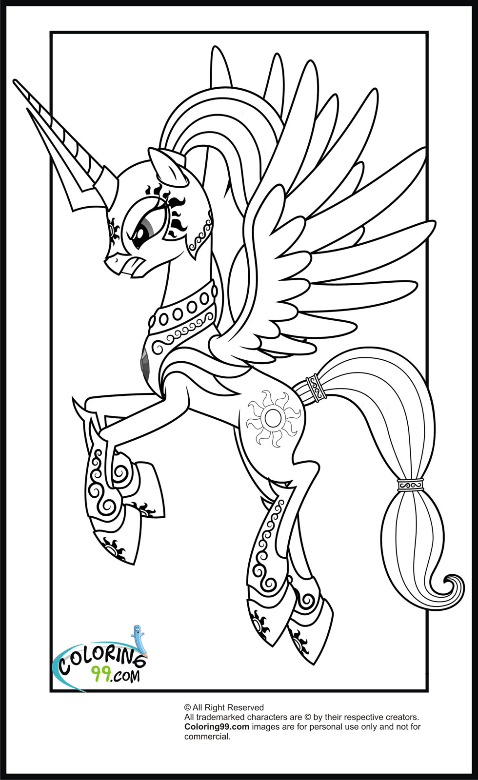 princess horse coloring pages - photo#26