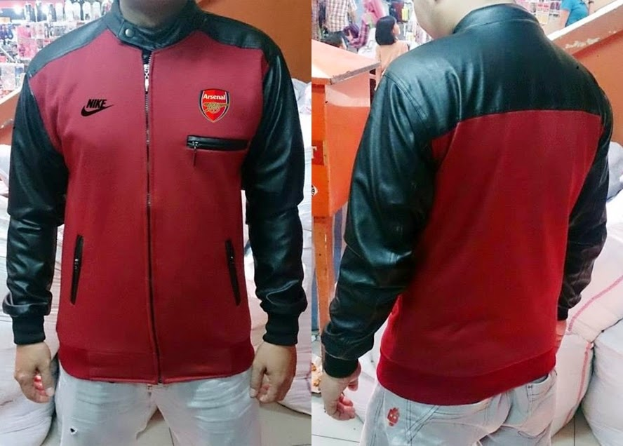 Jaket Bola Sporty Bahan Flecee Kombinasi Kulit Arsenal Merah Maroon-Black