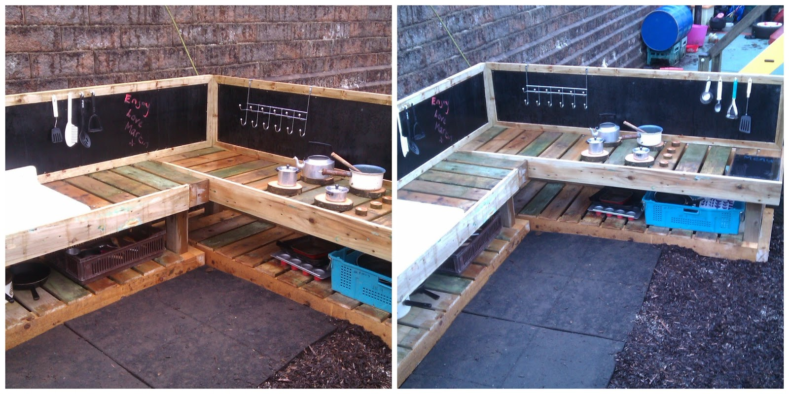 Learning for life a deluxe mud kitchen for Kitchen ideas using pallets
