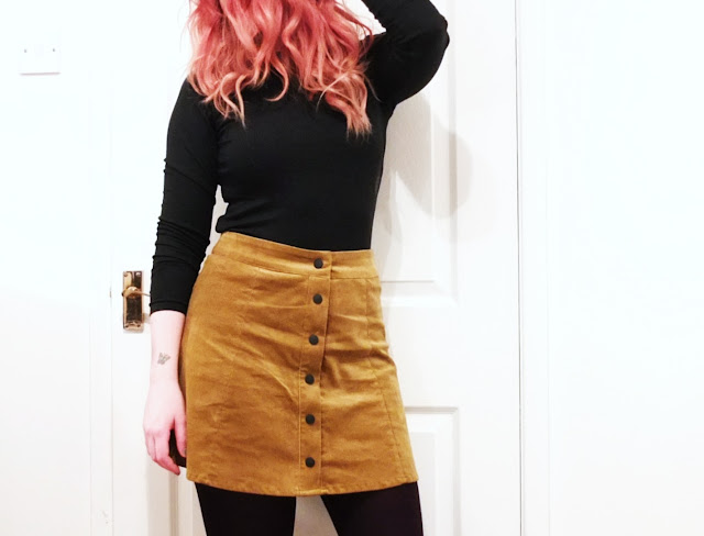 The Mustard Button Front Skirt