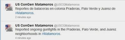 Consulado General de EU en Matamoros alerta sobre balaceras 27 de diciembre