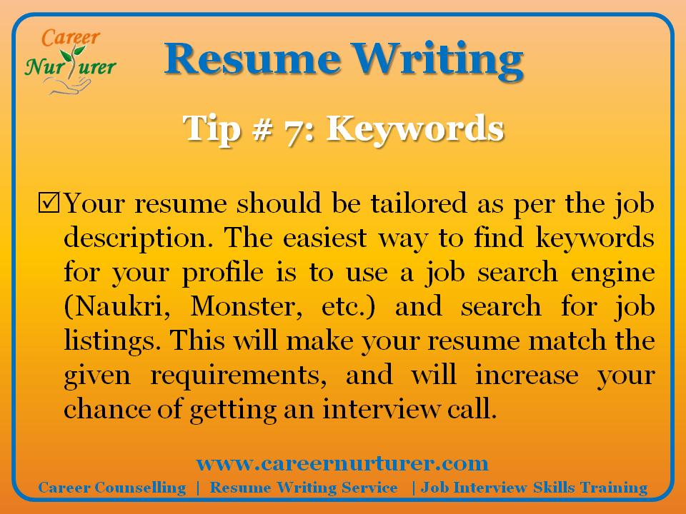 tips for writing resumes