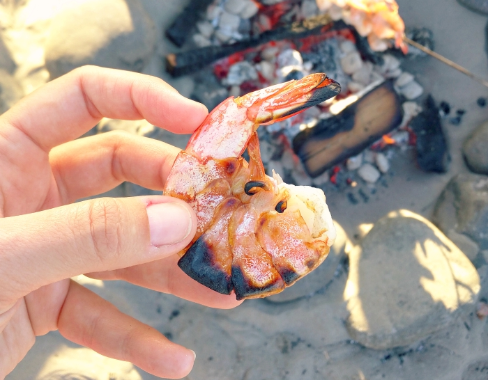 shrimp grilled over a camp fire on the beach