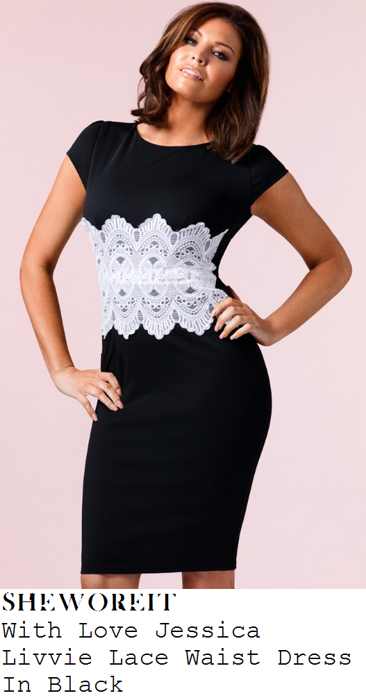 jessica-wright-black-white-lace-waist-panel-short-sleeve-shift-dress
