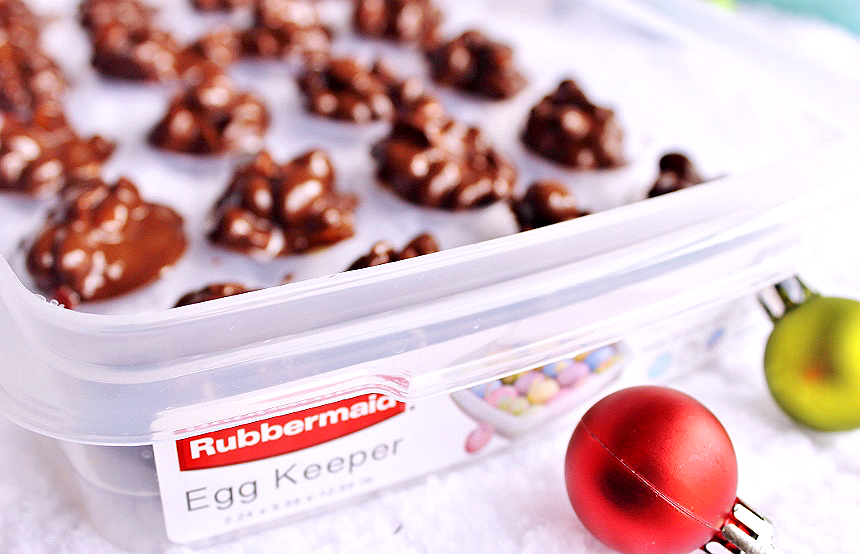 Rubbermaid Egg Keeper- Chocolate Peanut Clusters