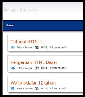 cara menampilkan judul postingan pada home blog