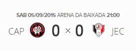 O placar de Atlético-PR 0x0 Joinville pela 23ª rodada do Brasileirão 2015