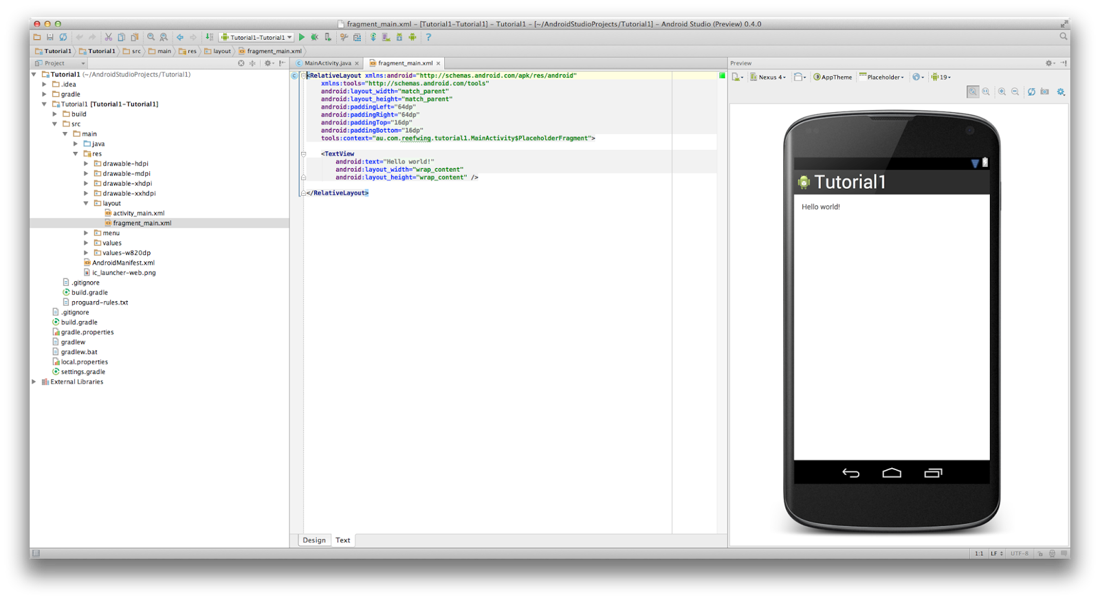 Android Studio Tutorials Your First Android App Hello