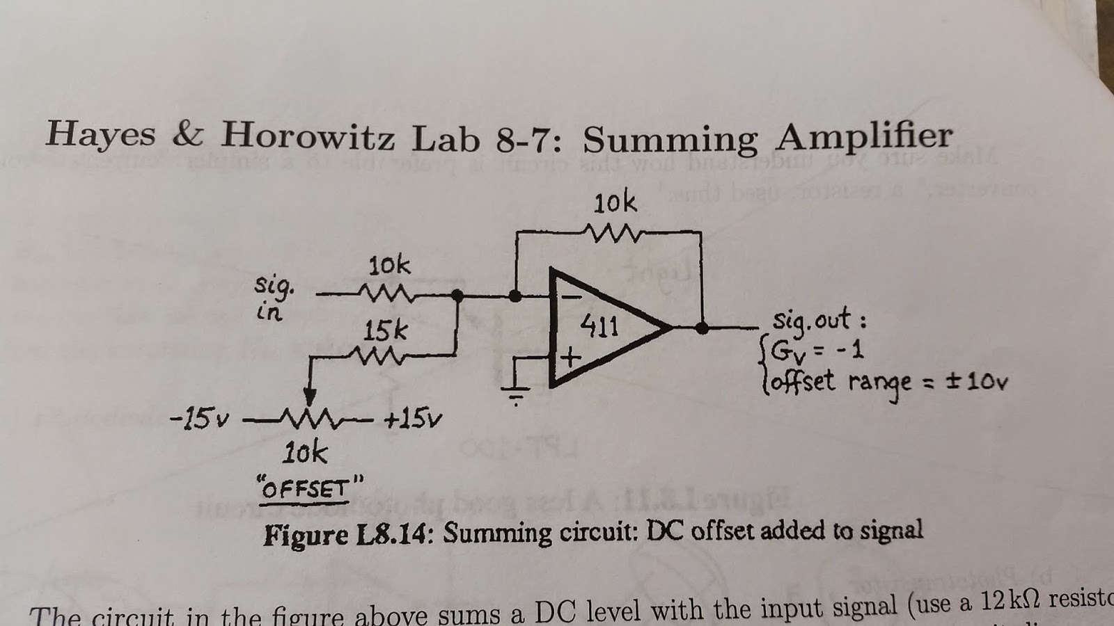 Physics 310 Amplifier You Would Think This Is A Non Inverting Summing Circuit Sums Dc Level With The Input Signal Allowing To Add Offset We Applied 5vpp Sine Wave At 1khz And
