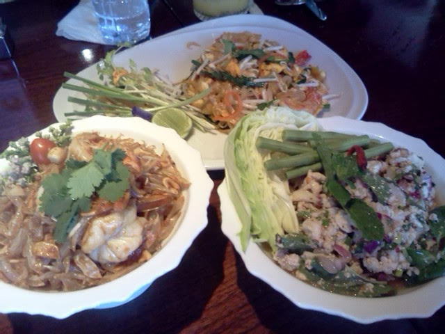 Delicious Phat Thai, pomelo salad and spicy larb salad at the Jim Thompson House restaurant, Bangkok.
