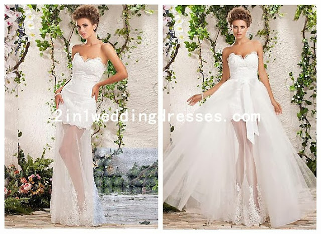 Organza and Tulle 2 in 1 Wedding Dress With Detachable Train