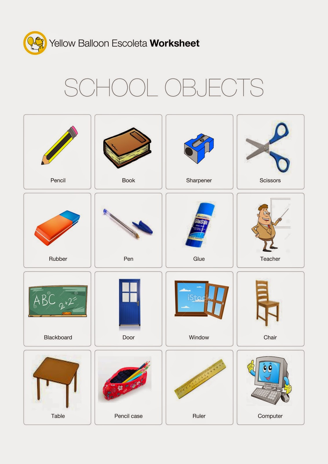 Yellow Balloon Escoleta: SCHOOL OBJECTS Worksheet