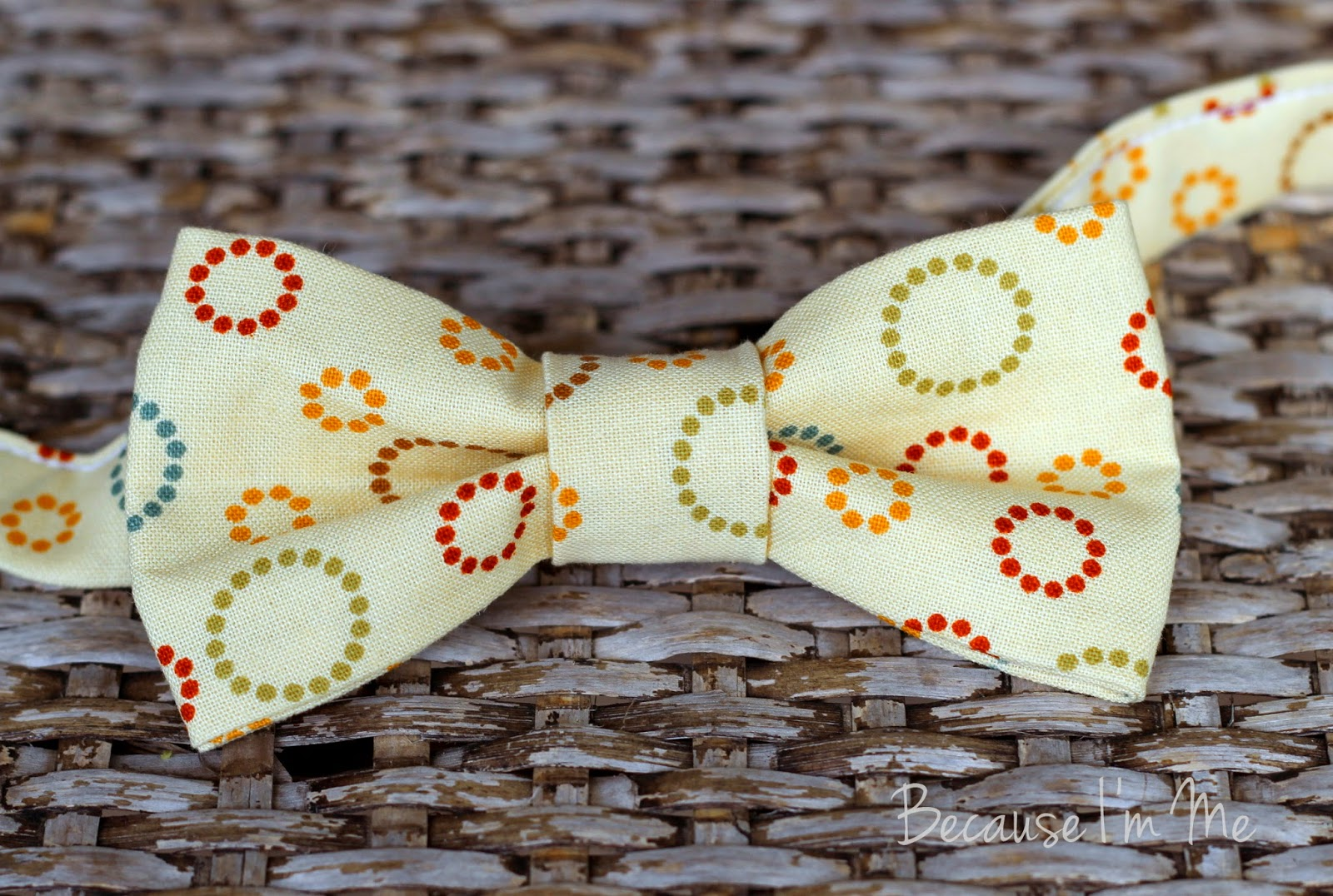 Because I'm Me yellow circular dot print cotton bow tie for infants, toddlers, boys, and men