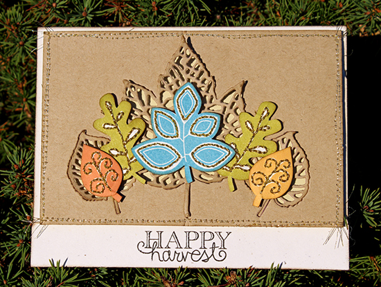 Stitched leaf Harvest card by Larissa Heskett for Newton's Nook Designs | Falling into Autumn Stamp Set
