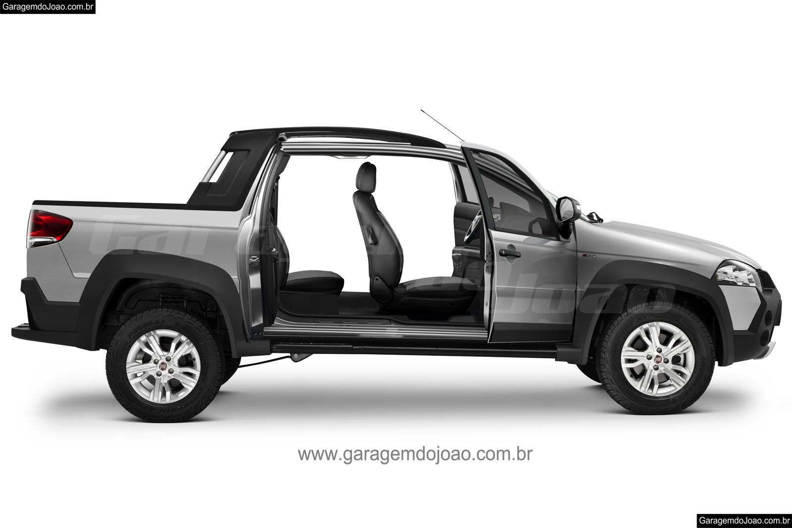 Veja a projeção da Fiat Strada 4 portas.