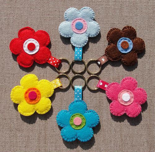 Felt Fabric Uses Felt Fabric Flower Key Chains