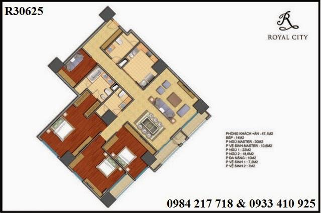 Bán chung cư trên địa bàn thành phố Hà Nội, căn hộ R30625 diện tích 221.5 m2 đẹp nhất dự án chung cư Royal City