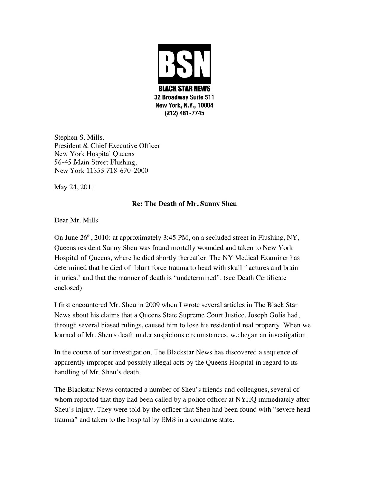 The murder of sunny sheu black star news letter to new york black star news letter to new york hospital ceo stephen mills and chairman george heinrich 1betcityfo Images
