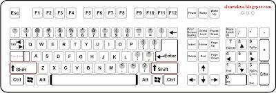 Tekan dan tahan tombol Shift Kiri dan Shift Kanan di keyboard.