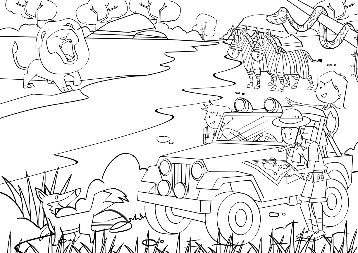 free kids safari coloring pages - photo#4