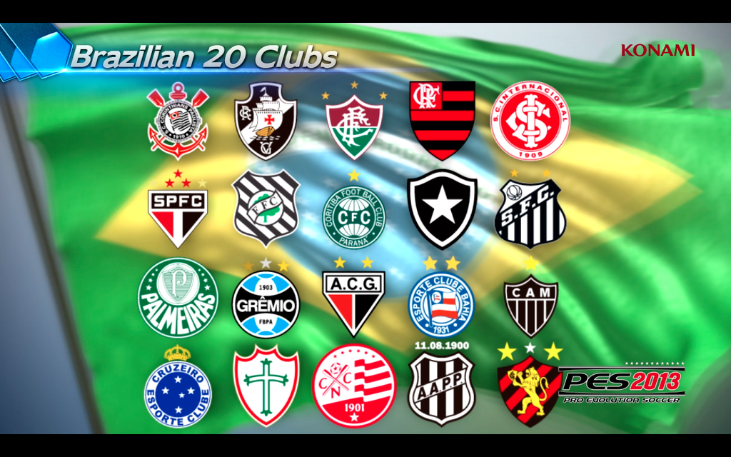 the big news: twenty Brazilian club teams will feature in PES 2013