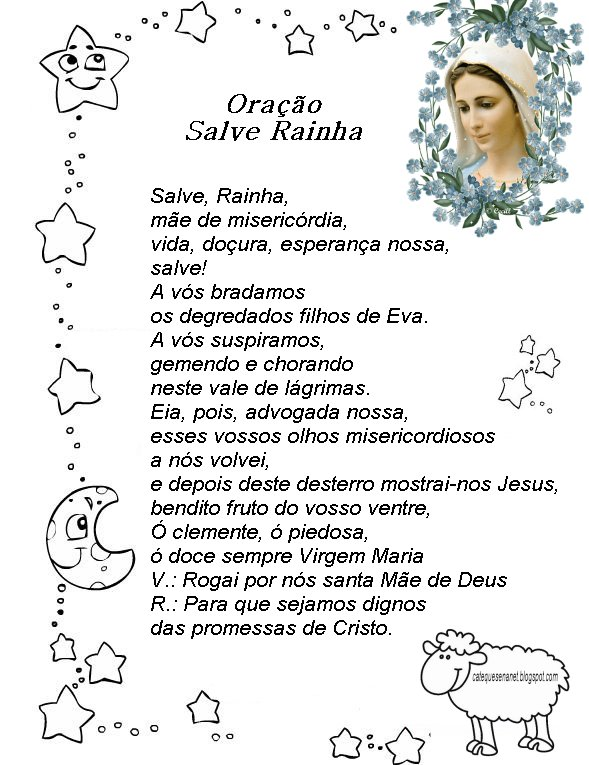 Oração Salve Rainha Origem Desenhos
