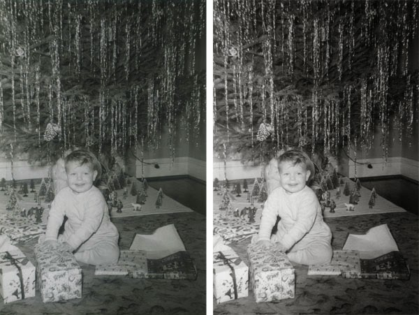 vintage Christmas photo of a boy in front of a Christmas Tree