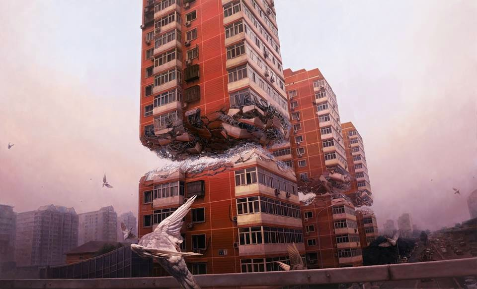 04-Fortress-Jeremy-Geddes-Body-Weightlessness-in-Surreal-Paintings-www-designstack-co