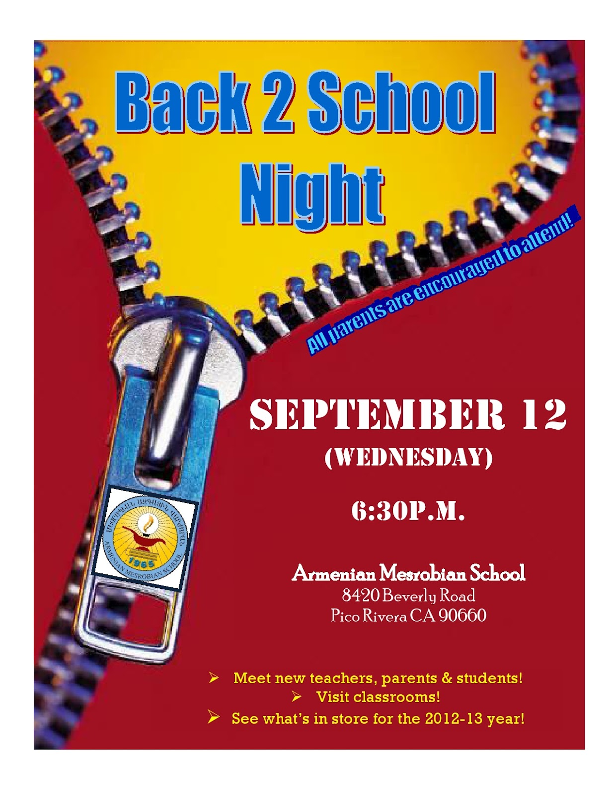 Back To School Night Flyer Antaexpocoaching