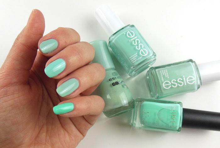 Essie Blossom Dandy, Essie Fashion Playground, Essence That's What I Mint, Kiko 389