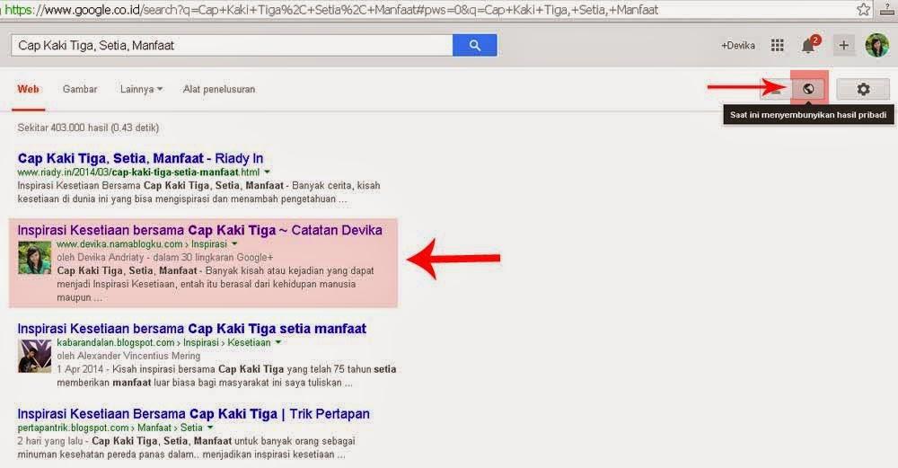 Tampilan Hasil Pencarian Google