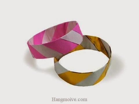 Cách gấp, xếp cái vòng đeo tay bằng giấy origami - Video hướng dẫn xếp hình đồ thời trang - How to fold a Bangle